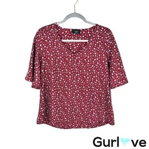 VICI Maroon Animal Print V Neck Bell Sleeves Top S